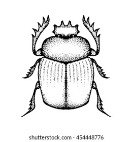 Hand drawn vector scarab or dung beetle. Drawn by small dots. Pointillism. Isolated on white background