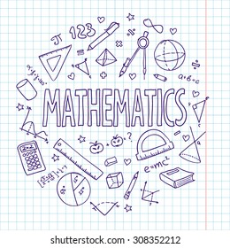 Hand drawn vector school set, mathematics. Can be used for your design.