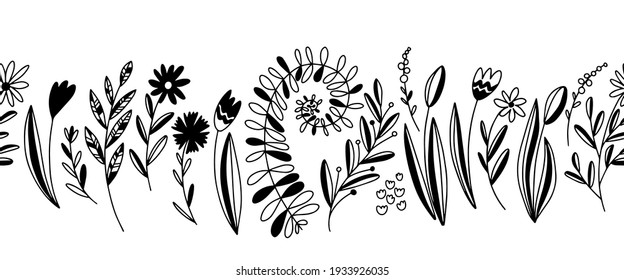 Hand drawn vector seamless border with flowers and herbs. Stock illustration with easter plants.