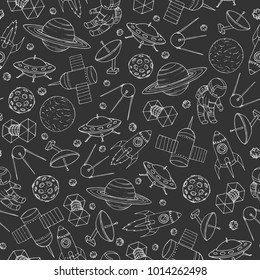 Hand drawn vector seamless pattern with cosmonauts, satelites, rockets, planets, moon, falling stars and UFO contours. Cosmic background for education and science portals.