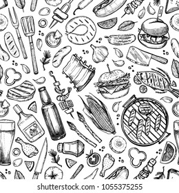 Hand drawn vector seamless pattern. BBQ. Barbeque design elements in sketch style. Fast food.  Perfect for menu, prints, packing, leaflets, advertising, wrapping paper