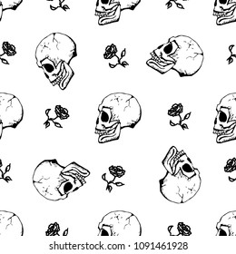Hand drawn vector seamless pattern. Skull and rose texture.