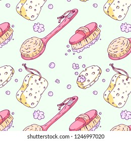 Hand drawn vector seamless pattern with bath and spa sponges, loofah, brushes. Colorful illustration for banners, posters, leaflets and ads, Cute and retro style, cartoon