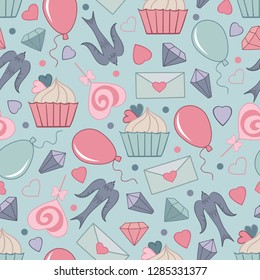 Hand drawn vector seamless pattern for Saint Valentine day