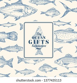 Hand Drawn Vector Seamless Pattern. Fish Package Card or Cover Template with Sea Bass Ocean Gifts Emblem. Herring, Anchovy, Tuna, Dorado, Seabass and Salmon Background. Isolated.