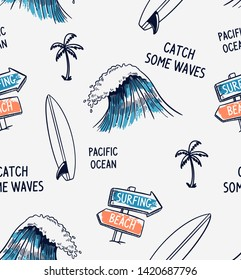 Hand drawn vector seamless pattern. Surfboards palm trees, waves and slogan texts.