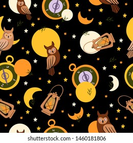 Hand drawn vector seamless pattern with black background - night in the forest. Contains two moon phases, stars, owl, lamp and compass.