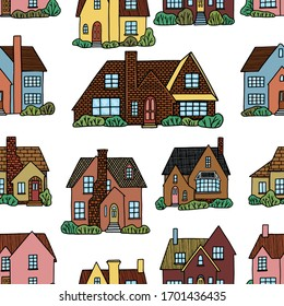 Hand drawn vector seamless pattern. Lovely houses. Cozy home, homestead, cottage, villa. Flat cartoon drawing. Colorful background in vintage style. For design, wallpaper, textile, fabric, print, wrap