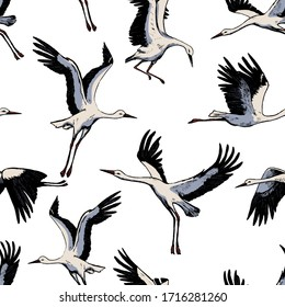 Hand drawn vector seamless pattern of beautiful flying storks. Realistic ink wild birds cranes background. Vintage colorful wallpaper. Gentle surface design for wrap, textile, postcard, print, fabric.