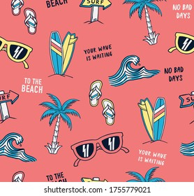 Hand drawn vector seamless pattern. Surfboards, sunglasses, palm trees, waves and slogan texts.