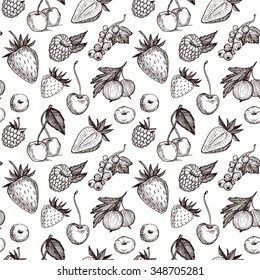 Hand drawn vector seamless pattern - Collection of berries (raspberries, strawberries, cherries, gooseberries).