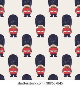 hand drawn vector seamless pattern of Queen's Guard/ British Army soldiers/ London/can be used as kids or baby's shirt design/textile/ fashion graphic
