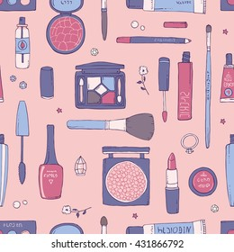 Hand drawn vector seamless pattern of makeup and other cosmetics products. Lipstick, mascara, shadows and make-up brushes. Rose Quartz background. Fashion and beauty concept
