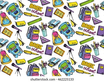 Hand drawn vector seamless pattern with backpack, ruler, pencilcase, pen, pencil, calligraphic, brush, color pen, notebook. Vector illustration. Back to school.