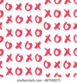 Hand drawn vector seamless pattern with XOXO. Hipster symbols of hugs and kisses. Good for cards, wallpaper, posters, wrapping paper, invitations. Trendy graphic design. Fashionable textile print.