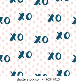 Hand drawn vector seamless pattern with symbols of hugs and kisses. Trendy graphic design. Fashionable textile print.
