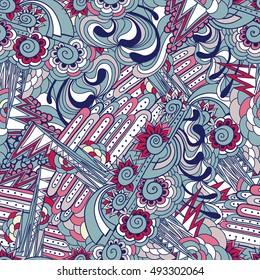 Hand drawn vector seamless pattern with doodle elements with blue and pink colors.