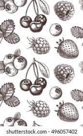 Hand drawn vector seamless pattern - Collection of berries (raspberries, strawberries, cherries).
