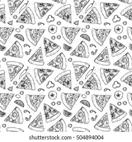 Hand drawn vector seamless pattern - Types of pizza: Pepperoni, Margherita, Hawaiian, Mushroom. Sketch style. Perfect for leaflets, cards, posters, prints, menu, booklets