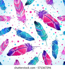 Hand drawn vector seamless pattern with painted bird feathers. Titled background. Colorful art for your design. Trendy  boho style patterned elements, sketch, tribal template.