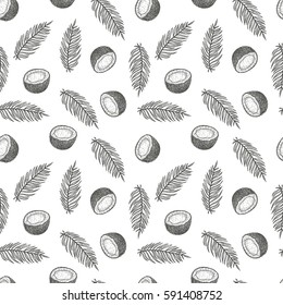 Hand drawn vector seamless pattern or background with coconut. Natural tropical food engraved vintage style illustration. Design for branding package, textile.