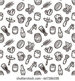 Hand drawn vector seamless pattern on a beer theme.