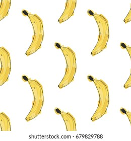 Hand drawn vector seamless pattern with bananas