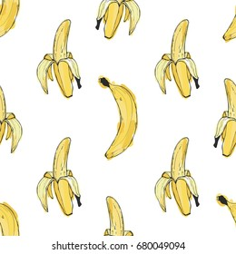 Hand drawn vector seamless pattern with peeled banana and banana in the peel