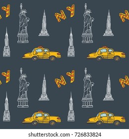 Hand drawn vector seamless pattern with symbols of New York City and - statue of liberty name NY. Contour, line art style drawing. Could be used as background, wrapping paper and textile ornament.