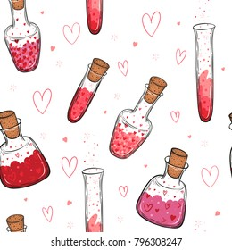 Hand drawn vector seamless pattern of glass bottles filled with love elixir isolated on white background