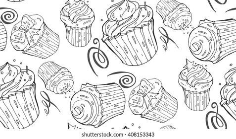 Hand drawn vector  Seamless pattern.Bakery pattern.Cakes pattern.Cooking illustration .Black and white.Seamless baked sweet food pattern.