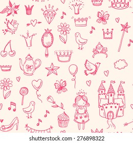 Hand drawn vector seamless princess pattern.