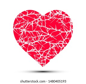 Hand drawn vector seamless red and white heart shape of tangled briar patch with entwined stems and thorns.