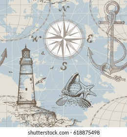 Hand drawn vector seamless sea map with compass, lighthouse, anchor and seashells. Perfect for textiles, wallpaper and prints.