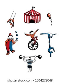 Hand drawn vector set of circus doodles. Cute cartoon circus characters for design or prints.