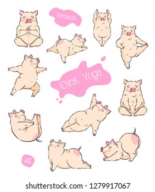 Hand drawn vector set of cute pigs doing yoga asanas