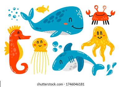 Hand drawn vector set of cute sea animals. Whale, shark, crab, octopus, jellyfish and seahorse friendly characters.