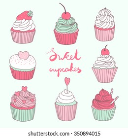 hand drawn vector set with cute cupcakes