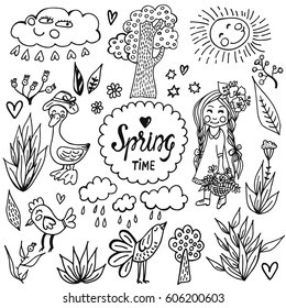 Hand drawn vector set with cute spring elements. Illustration with cartoon flowers, birds, trees, girl in doodle style. Spring design for prints, scrap-booking, coloring page.