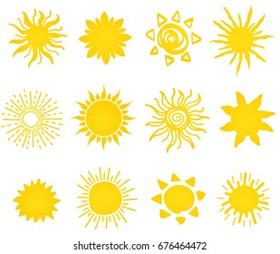 Hand drawn vector set of different suns icons isolated on white. Doodle sun. Can be used for stickers, banner, cards, web, social media, logo, label or badges.