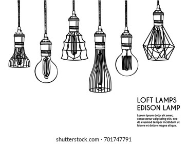 Hand drawn vector set of different geometric loft lamps. Edison lamps and modern chandeliers sketch. Vintage light bulbs doodle art hanging free hand line style vector