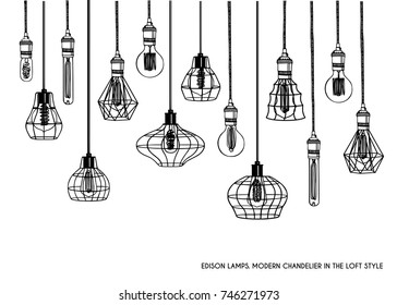 Hand drawn vector set of different geometric loft lamps and iron lampshade. Industrial style. Set of vintage chandelier and pendant lamps. Hanging lamps with Edison bulbs. Black and white image