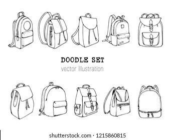 Hand drawn Vector Set of Doodle Backpacks. Cartoon Casual Backpack, cool backpack sketch . Vector illustration. Back to school. Schoolbag decorative element .