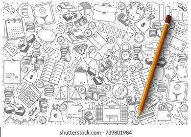 Hand drawn vector set of finance doodles