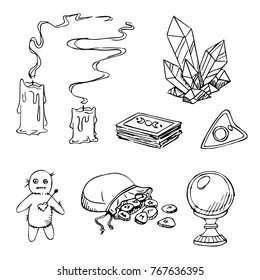 Hand drawn vector set of fortune taller accessories for soothsaying: tarot cards, crystall ball, runes and other magic stuff.