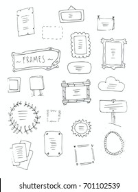 Hand drawn vector set of frames. Cartoon style.