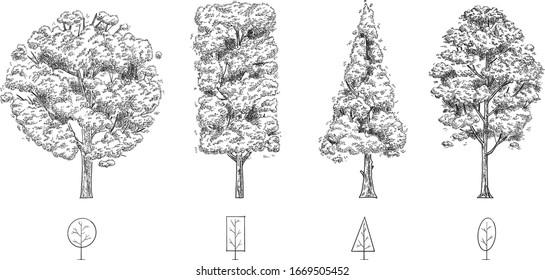 hand drawn vector set of geometric tree.