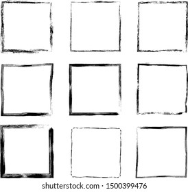 Hand drawn vector set with grunge square frames and borders for graphic design