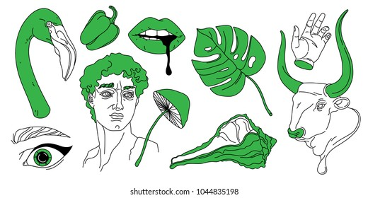 Hand drawn vector set of hipster classical sculpture,  flamingo, mushroom, monster leaf, shell and other modern things. Design illustrations for poster, print and clothes