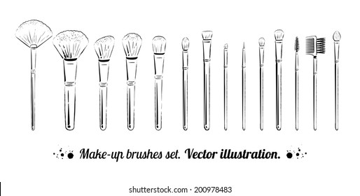 Hand drawn vector set of makeup brushes kit isolated on white.
